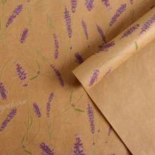 Бумага упаковочная крафтовая «Лаванда», 70 × 50 см,набор 10 листов