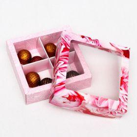 "Коробка для конфет 4 шт, ""Пионы"", розовые, 12,6 х 12,6 х 3,5 см"