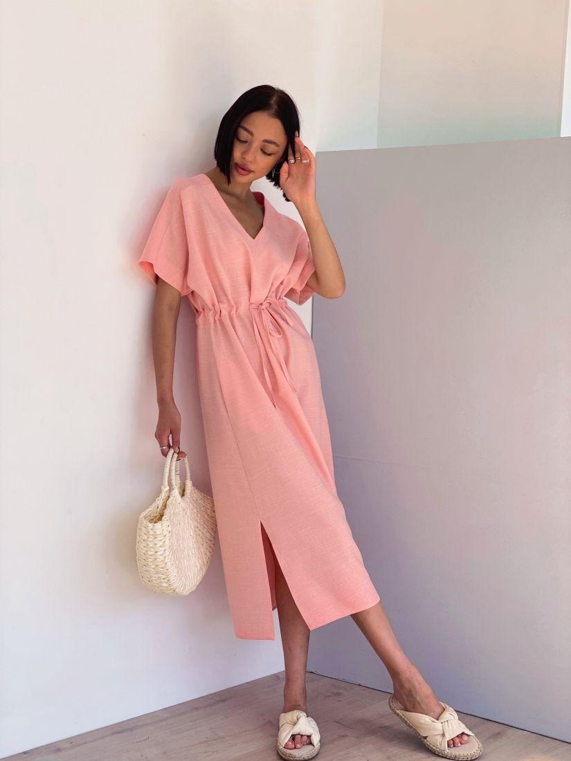 4381 Платье свободного силуэта с кулиской в теплом розовом цвете