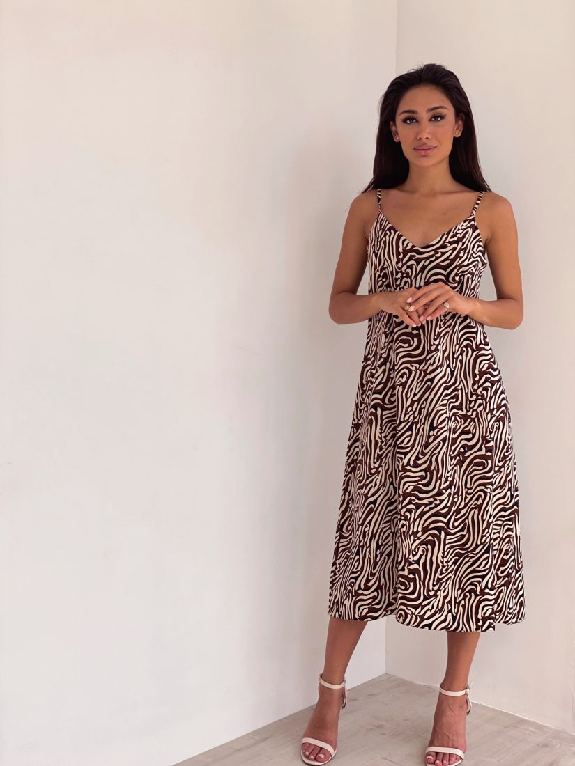 4387 Платье-комбинация с бежево-кофейным принтом