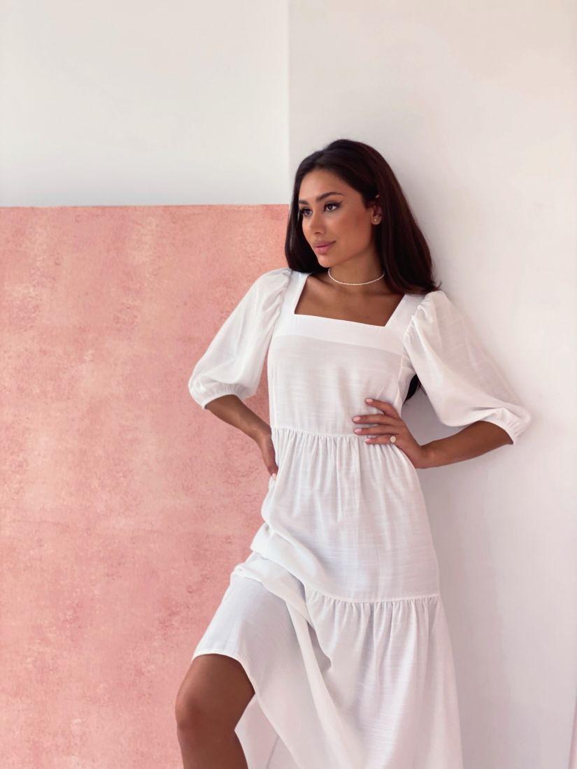 4393 Платье ярусное белое