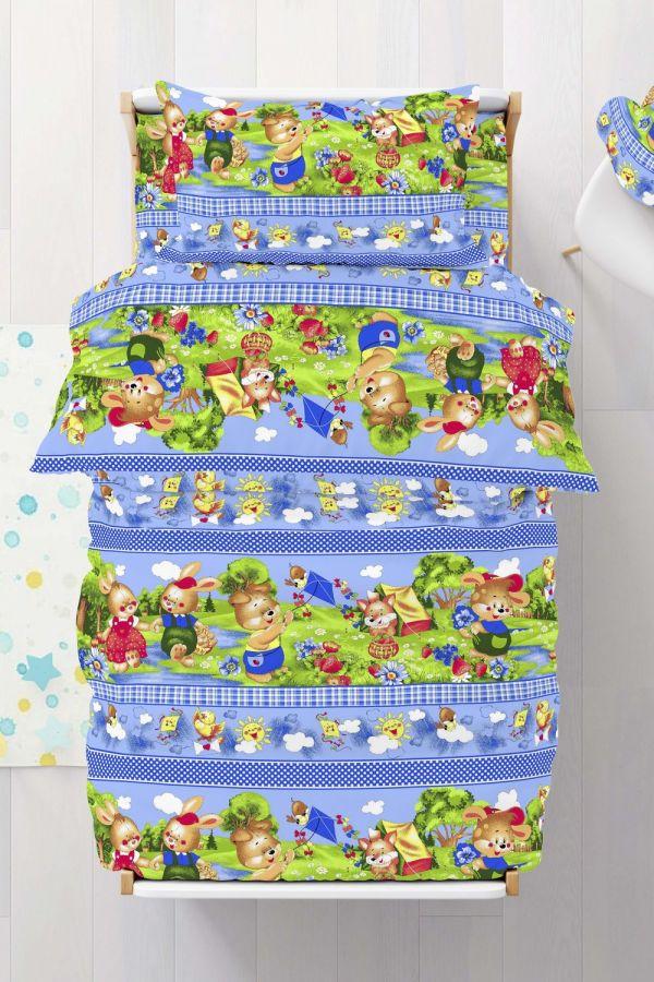Бязь [голубой] Веселый поход постельное белье