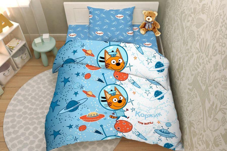 Бязь [голубой] Три кота 7955/1 Тинейджер постельное белье
