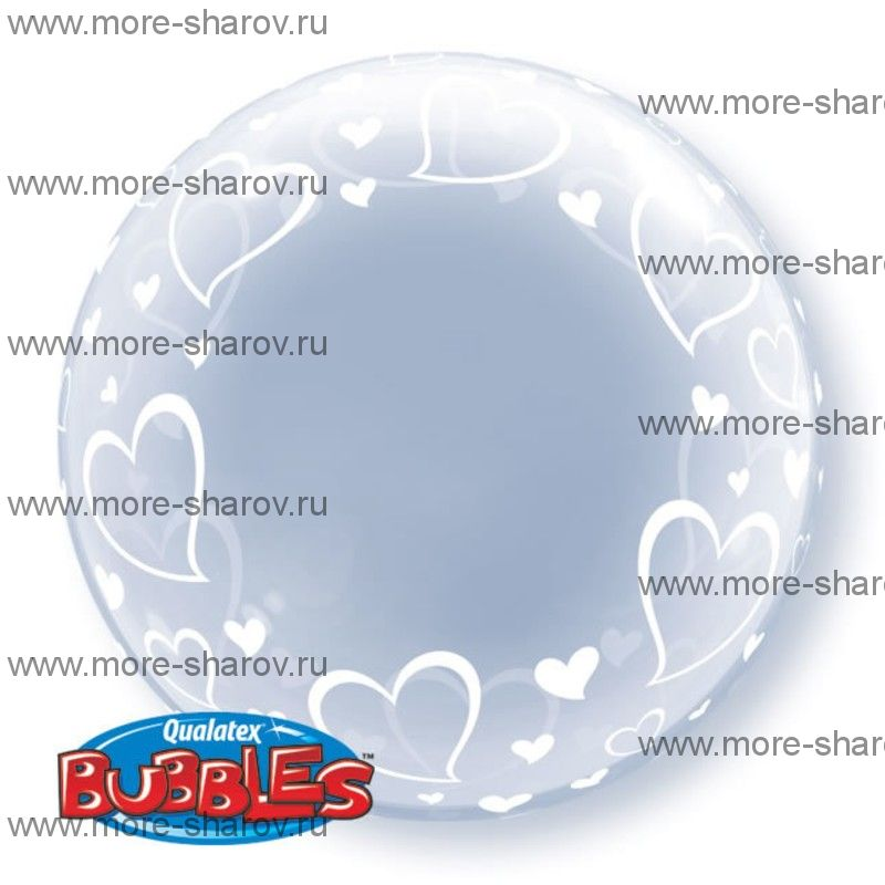 Шар Бабл Сердца 61 см