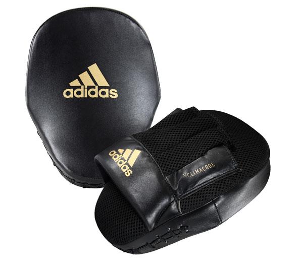 Лапы Adidas Curved Speed Mesh Coach Mitts черно-золотые,  артикул adiSBAC014