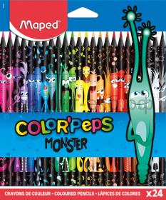 Карандаши цв.24цв.Maped COLOR'PEPS BLACK MONSTER пластиковые 862624