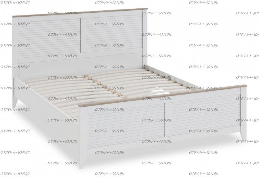 Кровать Ривьера СМ 241.01.001 с изножьем (1600) Дуб Бонифацио/ Белый