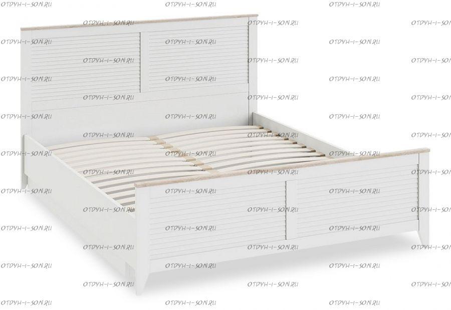 Кровать Ривьера СМ 241.01.002 с подъемным механизмом с изножьем (1600) Дуб Бонифацио/ Белый