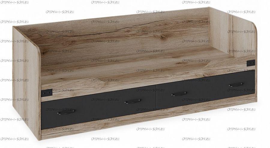 Кровать с ящиками Окланд ТД-324.12.01 Фон Черный/Дуб Делано