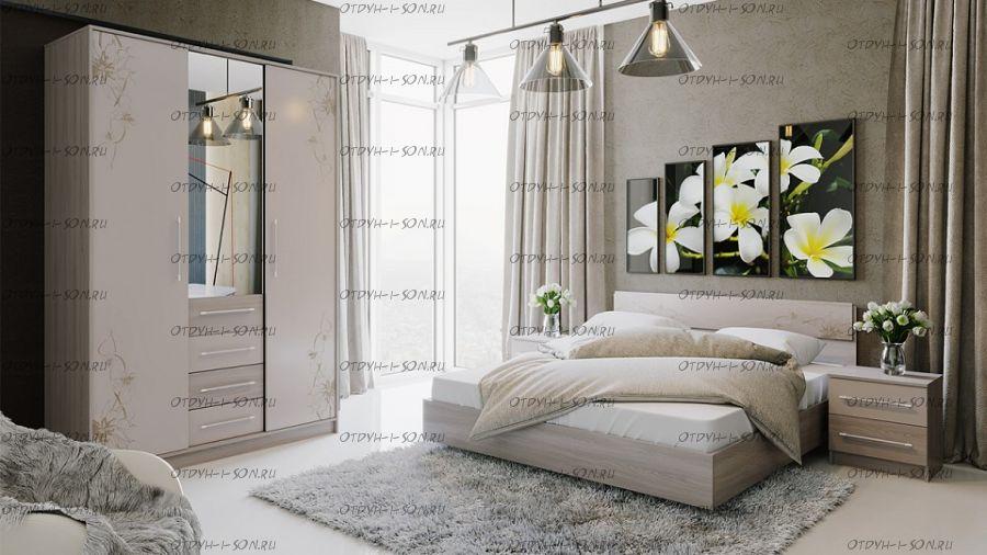 Спальный гарнитур Мишель №2 Цвет: Ясень шимо/Бежевый фон глянец с рисунком