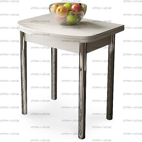 Стол обеденный Лион (мини) с хромированными ножками СМ-204.01.2 Дуб Белфорт