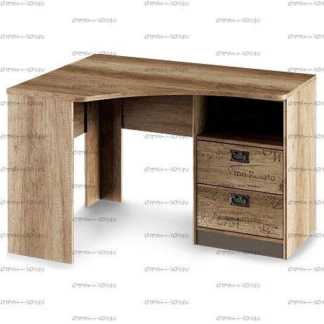 Стол угловой с ящиками Пилигрим ТД-276.15.03 Дуб Каньон светлый, Фон серый