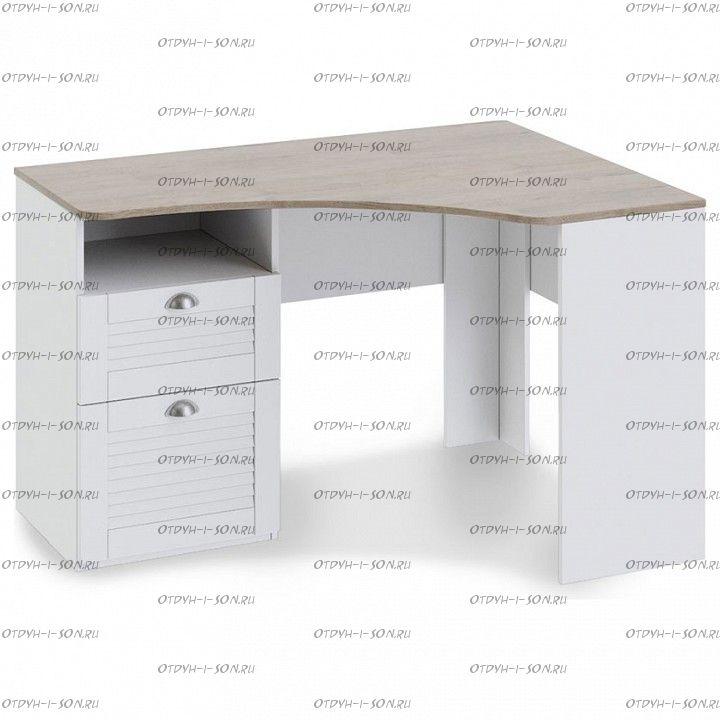 Стол угловой с ящиками Ривьера ТД 241.15.03 Дуб Бонифацио/ Белый