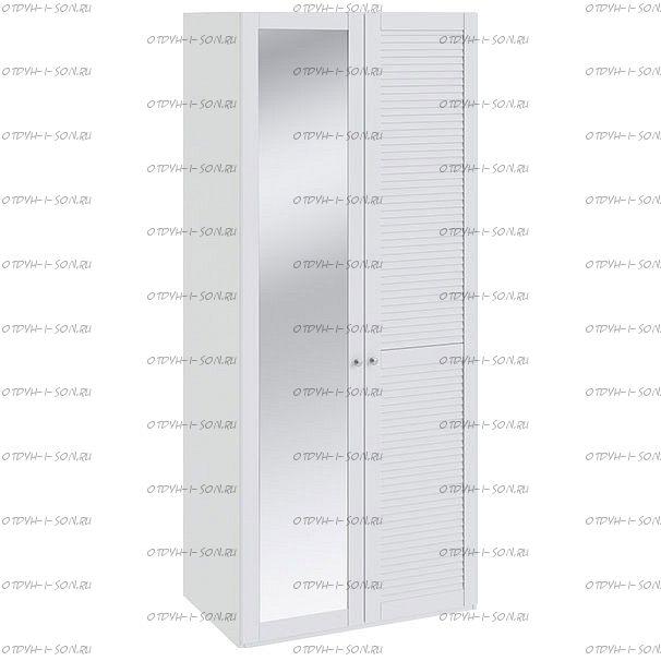 Шкаф для одежды Ривьера СМ 241.07.002 R с 1-й глухой и 1-й с зеркальной дверью Белый