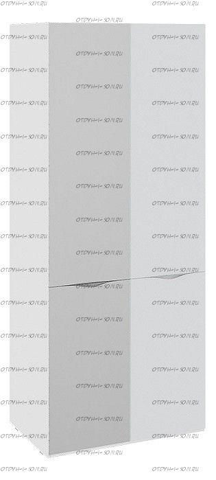 Шкаф для одежды с 1 зеркальной и 1 дверью со стеклом Глосс СМ-308.07.213 Белый глянец/Стекло