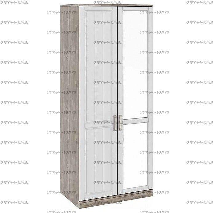 Шкаф для одежды с 1-ой глухой и 1-ой зеркальной дверями Прованс СМ-223.07.005R (580) Дуб Сонома трюфель/Крем