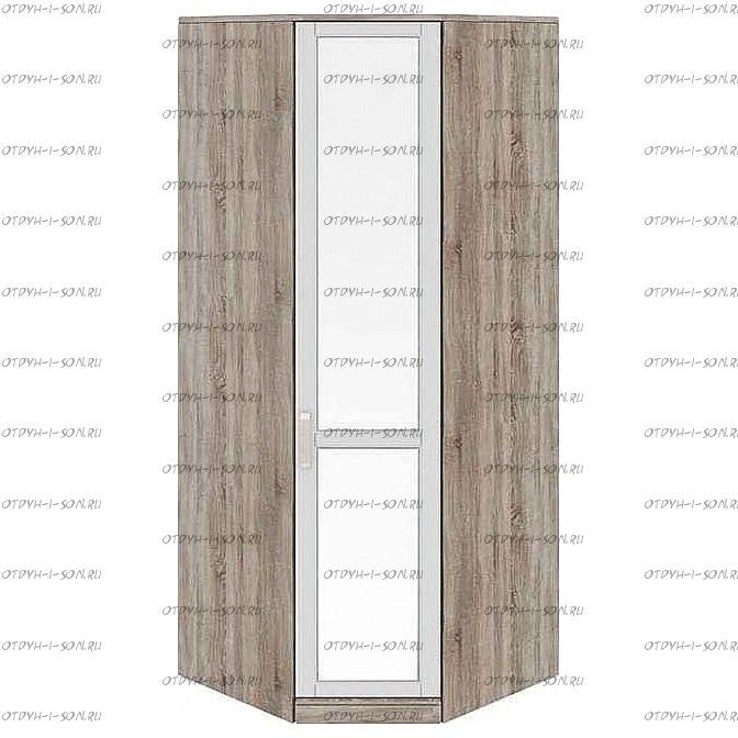 Шкаф угловой с 1 зеркальной дверью Прованс СМ-223.07.007R (580) Дуб Сонома трюфель/Крем