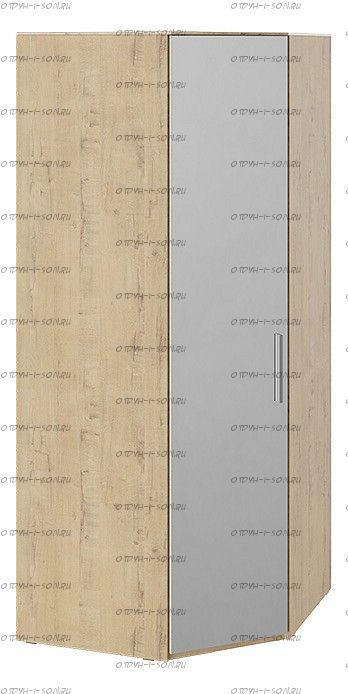 Шкаф угловой с зеркальной дверью Квадро СМ-281.07.007 L левый Бунратти/ Белый глянец