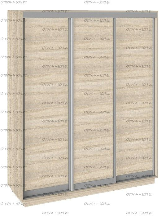 Шкаф-купе 3-х дверный Румер СШК 1.180.60-11.11.11 (1800x600x2200) Дуб Сонома, Дуб сонома/Дуб сонома/Дуб сонома