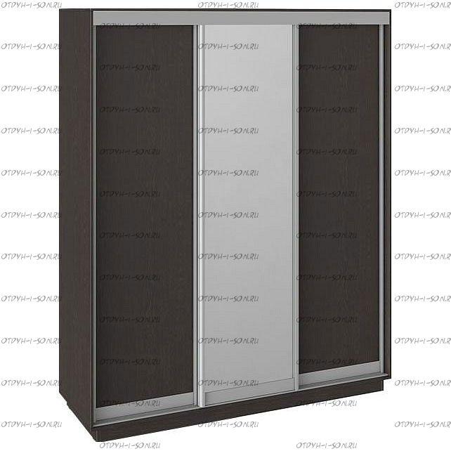 Шкаф-купе 3-х дверный Румер СШК 1.180.60-11.13.11 (1800x600x2200) Венге, Венге/зеркало/венге