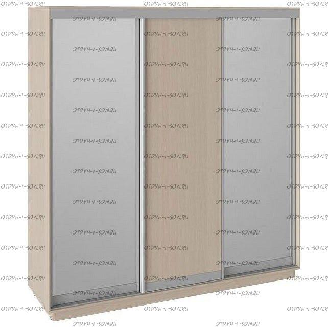 Шкаф-купе 3-х дверный Румер СШК 1.210.70-13.11.13 (2100x600x2200) Дуб молочный, Зеркало/дуб молочный/зеркало
