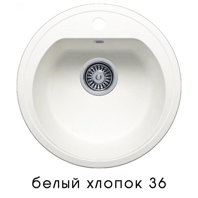 Кухонная мойка POLYGRAN F-05 (F-05 №36 (Белый Хлопок))