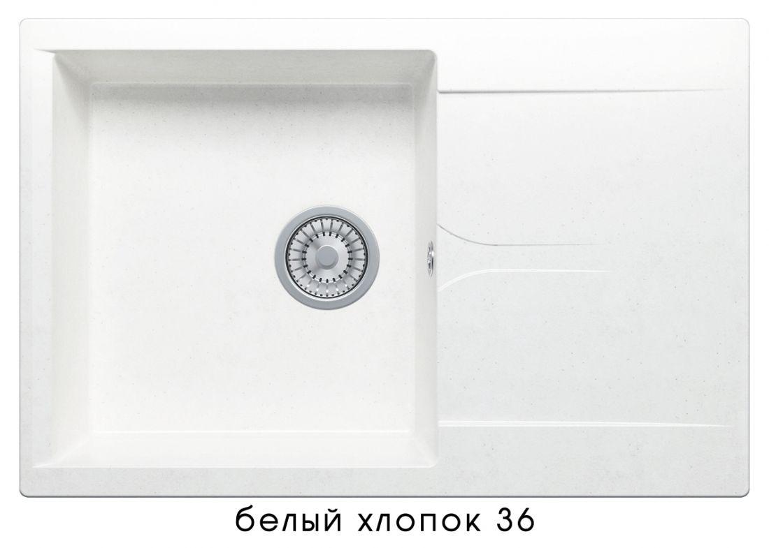 Кухонная мойка POLYGRAN Gals-760 (GALS-760 №36 (Белый Хлопок))