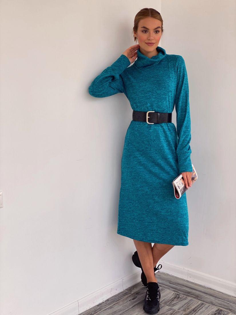 3505 Платье с объёмными рукавами в цвете tiffany