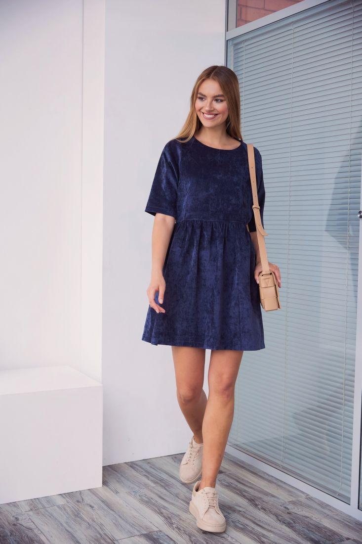 3089 Платье вельветовое чёрно-синее