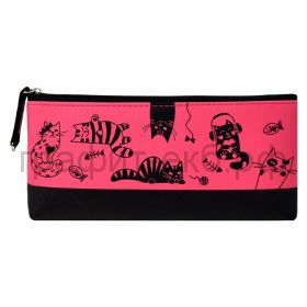 Пенал-косметичка Феникс+ искусств.кожа Кошки плоский розовый/черный 20х9,5х2 см 53987
