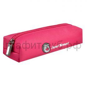 Пенал-косметичка Феникс+ искусственная кожа/аппликация из металла Ежик розовый 21х5.5х4.5см 53804