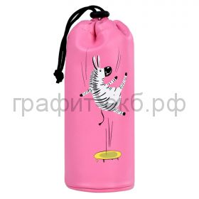 Пенал-косметичка Феникс+ искуственная кожа тубус на шнурке ЗЕБРА  розовый 7.5х20.5х7.5 см 53821