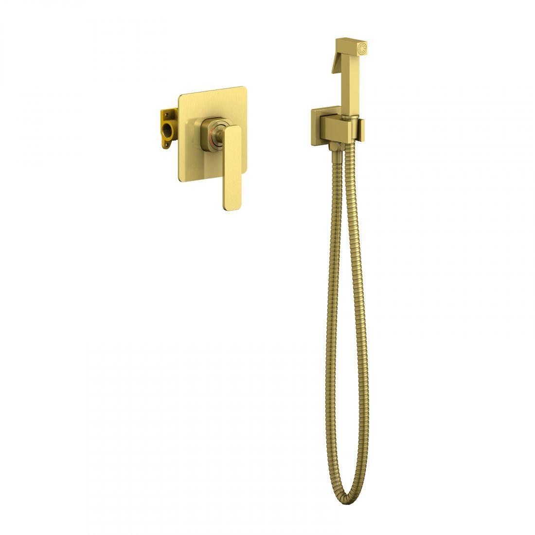 Смеситель встроенный с гигиеническим душем Timo Torne (4389/17SM) золото матовое