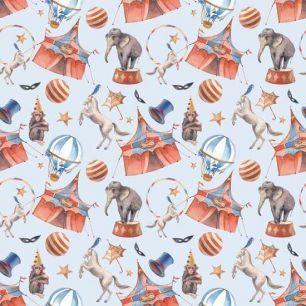 Хлопок Перкаль Слоны и шатры 50х37