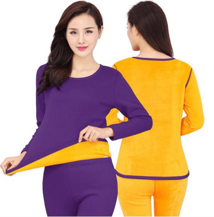 Женское термобелье с подкладкой из велюра - комплект из джемпера и брюк фиолетового цвета согреют в холодное время года.