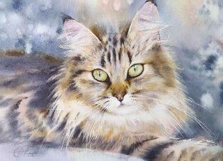 Почтовая открытка Акварельные котики 5