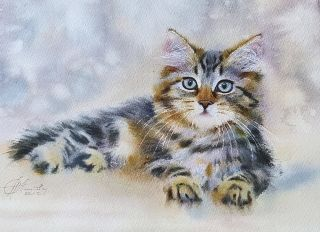 Почтовая открытка Акварельные котики 9