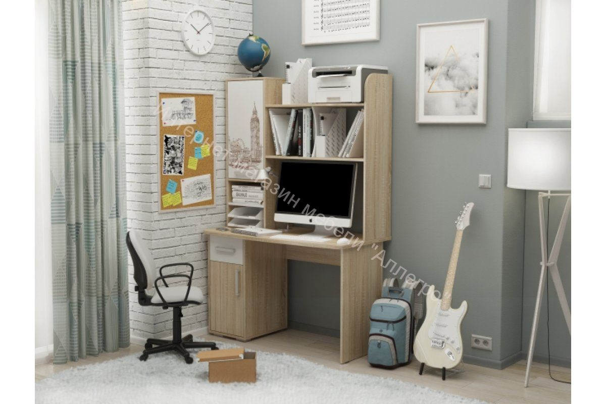 """Компьютерный стол 1200  """"Лайт 1"""" с надстройкой Лайт 1"""