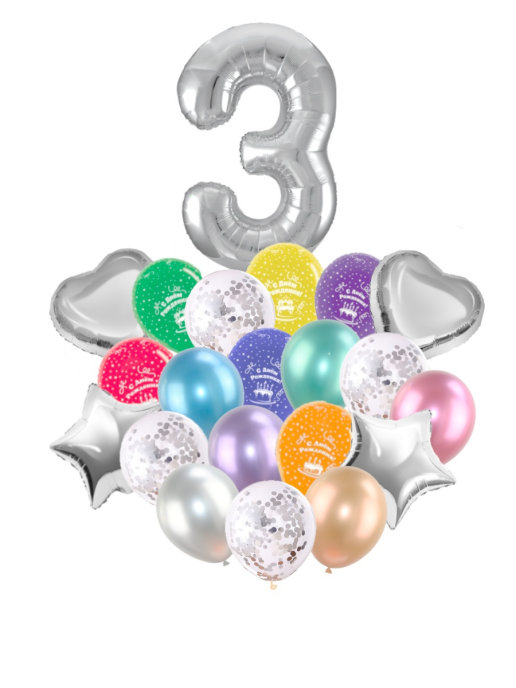 Воздушные шары набор «С Днем Рождения» с цифрой 3 серебро