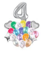 Воздушные шары набор «С Днем Рождения» с цифрой 4 серебро