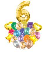 Воздушные шары набор «С Днем Рождения» с цифрой 6 золото