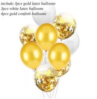 Цветные латексные шары, воздушные шары с конфетти  золото