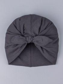 00-0023915  Чалма-тюрбан для девочки с бантом, темно-серый
