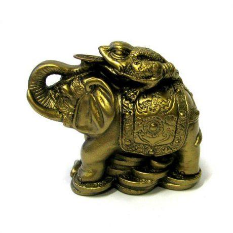 Жаба на слоне под бронзу, фигурка 7,5см