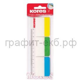 Закладки 37х50 3цв.пластиковые усиленные Kores 45123