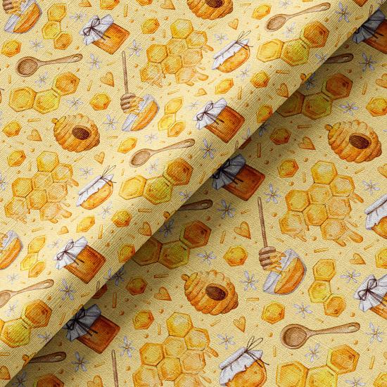 Хлопок  - Соты и улей на желтом 50х37