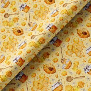 Хлопок Перкаль - Соты и улей на желтом 50х37