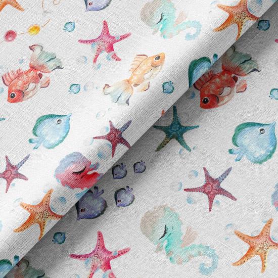 Хлопок Перкаль - Подводный мир на белом 50х37