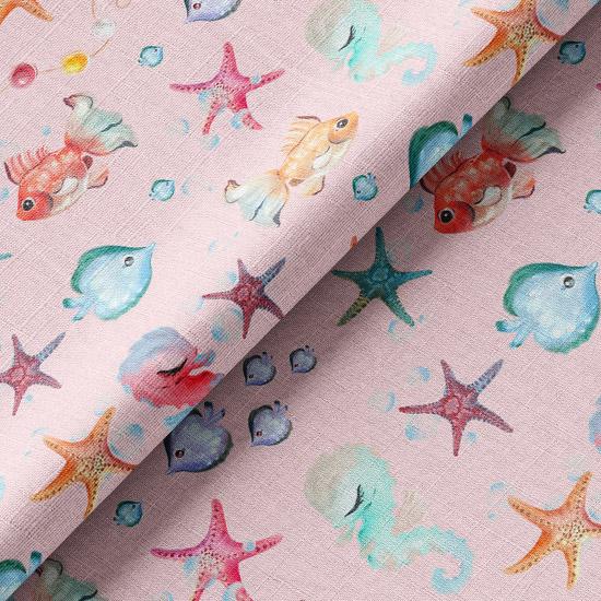 Хлопок Перкаль - Подводный мир на розовом 50х37