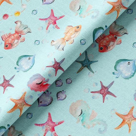 Хлопок Перкаль - Подводный мир на голубом 50х37